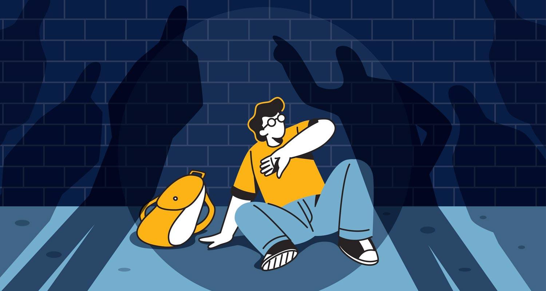 ragazzo adolescente subisce il bullismo